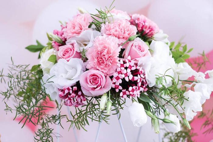 Florals from a Pink + White & Gold Garden Party via Kara's Party Ideas | KarasPartyIdeas.com (24)