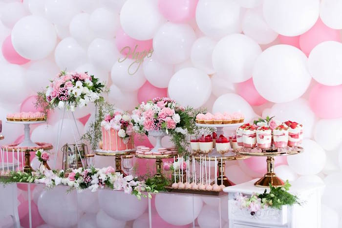 Dessert Table from a Pink + White & Gold Garden Party via Kara's Party Ideas | KarasPartyIdeas.com (23)