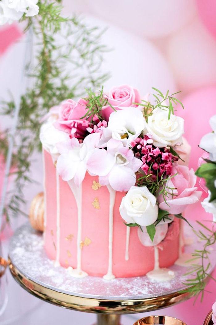 Cake from a Pink + White & Gold Garden Party via Kara's Party Ideas | KarasPartyIdeas.com (22)