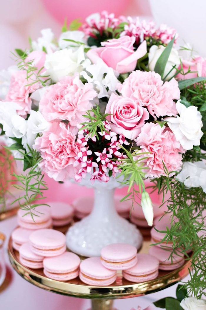 Floral Arrangement from a Pink + White & Gold Garden Party via Kara's Party Ideas | KarasPartyIdeas.com (21)