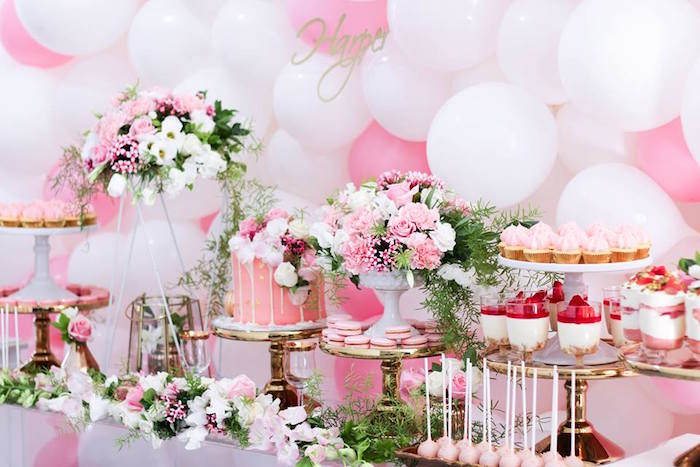Dessert Table Details from a Pink + White & Gold Garden Party via Kara's Party Ideas | KarasPartyIdeas.com (19)