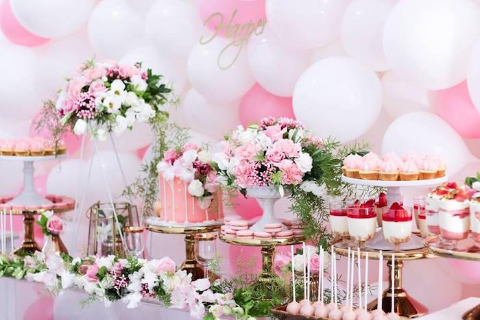 Dessert Table Details from a Pink + White & Gold Garden Party via Kara's Party Ideas | KarasPartyIdeas.com (19)