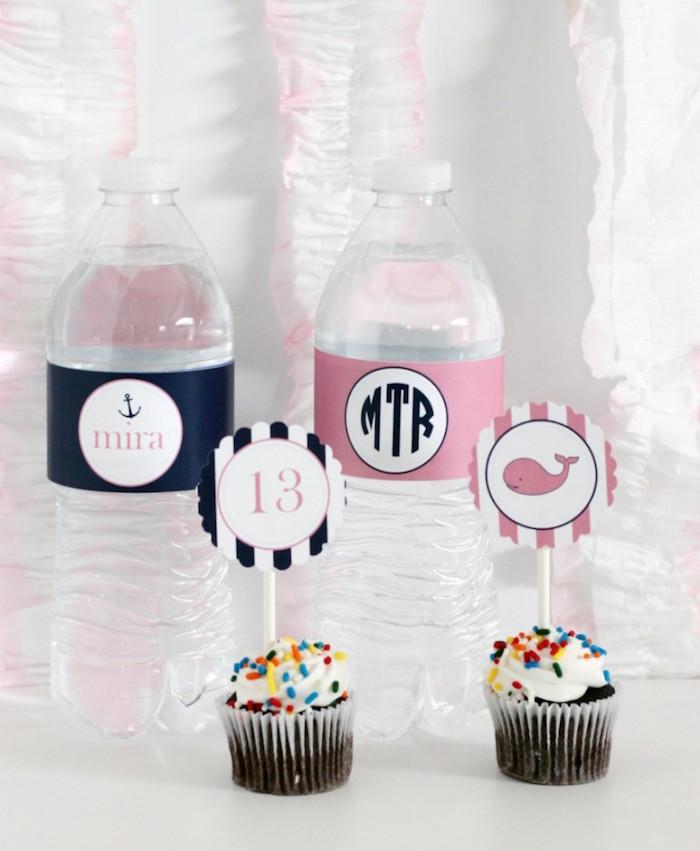 Water + Cupcakes from a Preppy Whale Themed Birthday Party via Kara's Party Ideas KarasPartyIdeas.com (14)