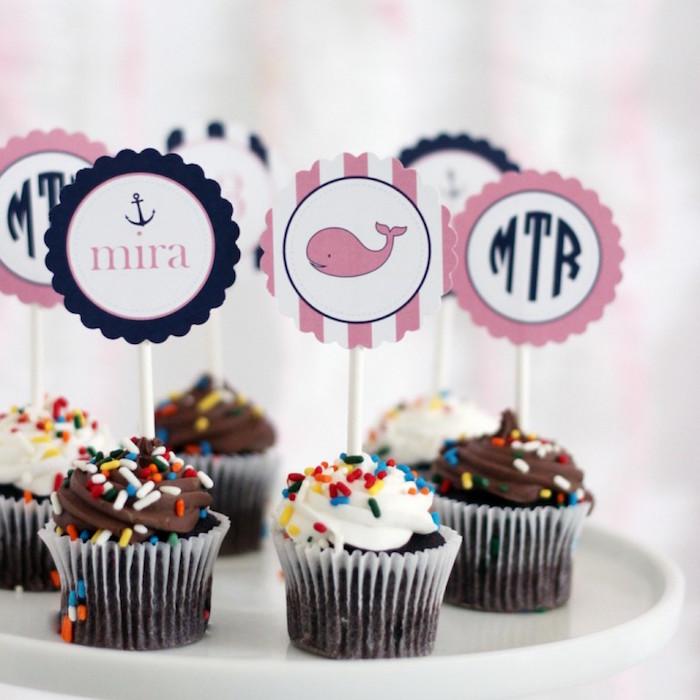 Cupcakes from a Preppy Whale Themed Birthday Party via Kara's Party Ideas KarasPartyIdeas.com (10)