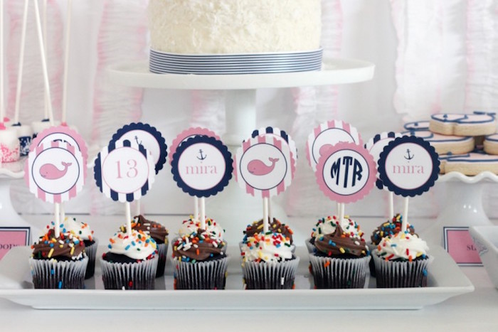 Cupcakes from a Preppy Whale Themed Birthday Party via Kara's Party Ideas KarasPartyIdeas.com (26)