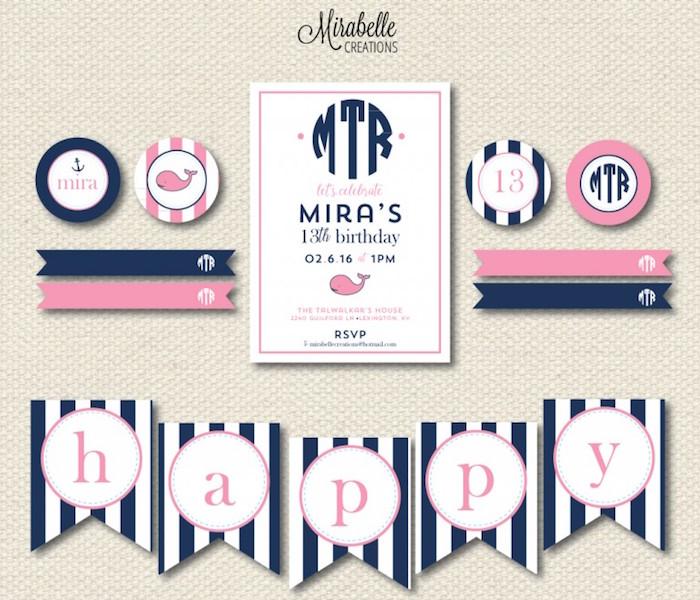 Invitation + Stationery from a Preppy Whale Themed Birthday Party via Kara's Party Ideas KarasPartyIdeas.com (4)