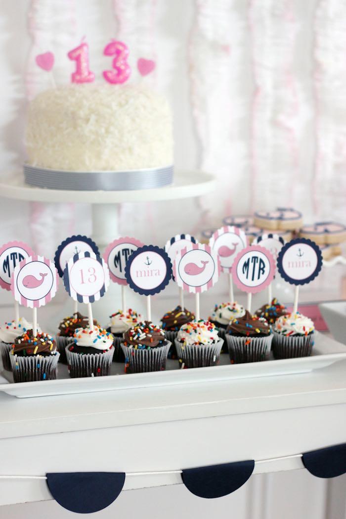 Cupcakes from a Preppy Whale Themed Birthday Party via Kara's Party Ideas KarasPartyIdeas.com (18)