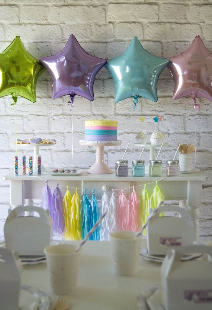 Dessert Table from a Rainbow Unicorn Birthday Party via Kara's Party Ideas KarasPartyIdeas.com (17)