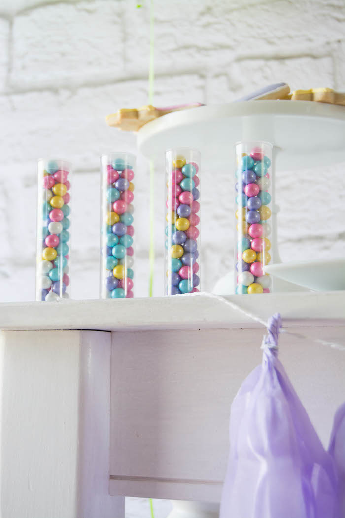 Sixlet filled Favor Tubes from a Rainbow Unicorn Birthday Party via Kara's Party Ideas KarasPartyIdeas.com (13)