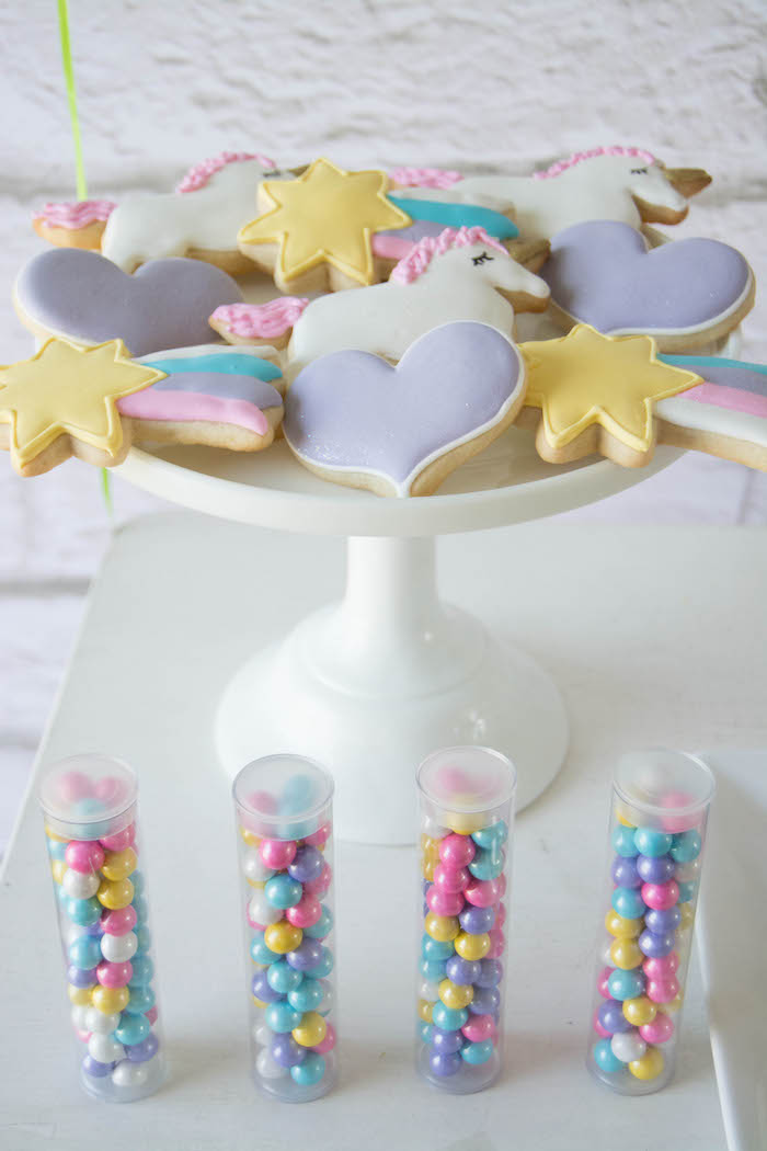 Cookies + Favor Tubes filled with Sixlets from a Rainbow Unicorn Birthday Party via Kara's Party Ideas KarasPartyIdeas.com (12)