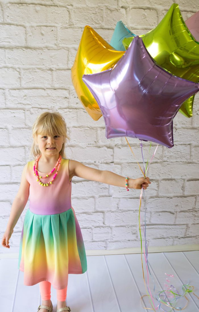 Birthday Girl from a Rainbow Unicorn Birthday Party via Kara's Party Ideas KarasPartyIdeas.com (5)