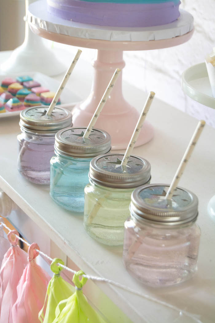 Drink Jars from a Rainbow Unicorn Birthday Party via Kara's Party Ideas KarasPartyIdeas.com (22)