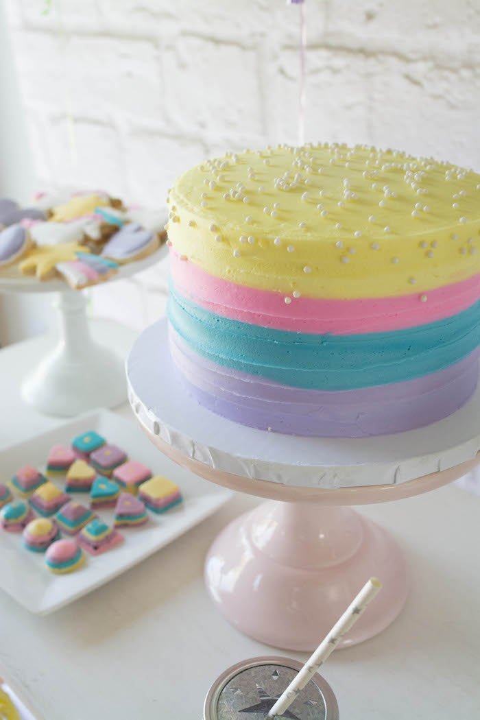 Cake + Sweets from a Rainbow Unicorn Birthday Party via Kara's Party Ideas KarasPartyIdeas.com (20)