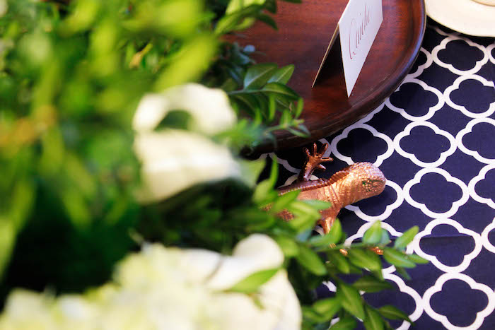 Copper Lizard from a Rustic Navy + Copper Baby Shower / Tea Party via Kara's Party Ideas | KarasPartyIdeas.com (25)