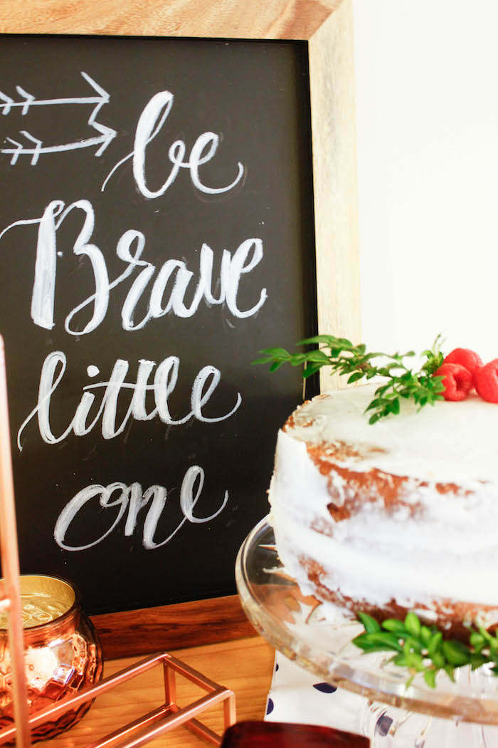 Chalkboard Sign from a Rustic Navy + Copper Baby Shower / Tea Party via Kara's Party Ideas | KarasPartyIdeas.com (23)