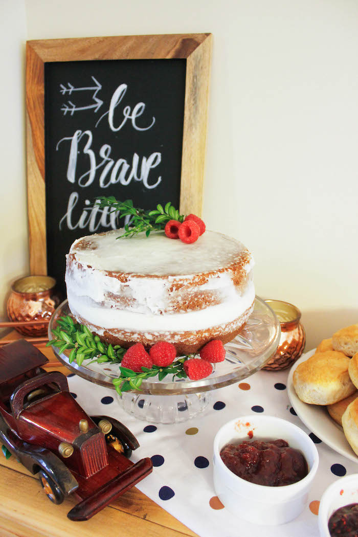 cake from a rustic navy copper baby shower tea party via karau0027s party ideas
