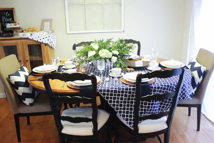 Guest Table from a Rustic Navy + Copper Baby Shower / Tea Party via Kara's Party Ideas | KarasPartyIdeas.com (20)