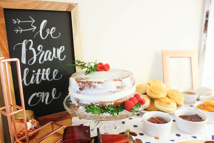 Cake Table Details from a Rustic Navy + Copper Baby Shower / Tea Party via Kara's Party Ideas | KarasPartyIdeas.com (19)