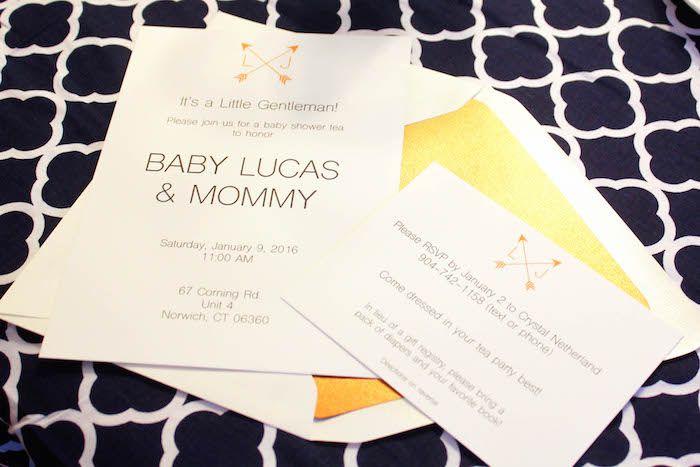 Invitation from a Rustic Navy + Copper Baby Shower / Tea Party via Kara's Party Ideas | KarasPartyIdeas.com (17)