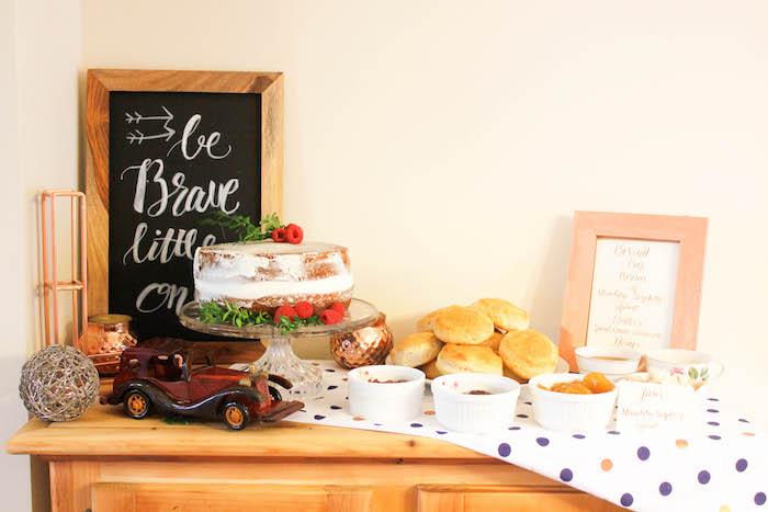 Cake Table from a Rustic Navy + Copper Baby Shower / Tea Party via Kara's Party Ideas | KarasPartyIdeas.com (15)