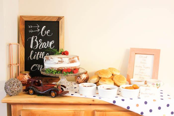 Cake Table from a Rustic Navy + Copper Baby Shower / Tea Party via Kara's Party Ideas | KarasPartyIdeas.com (15)