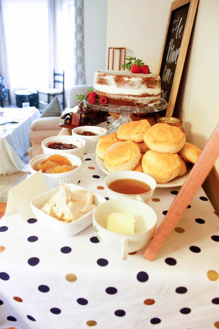 Rolls + Jam from a Rustic Navy + Copper Baby Shower / Tea Party via Kara's Party Ideas | KarasPartyIdeas.com (14)