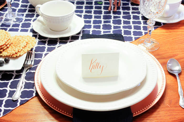 Place Setting from a Rustic Navy + Copper Baby Shower / Tea Party via Kara's Party Ideas | KarasPartyIdeas.com (13)