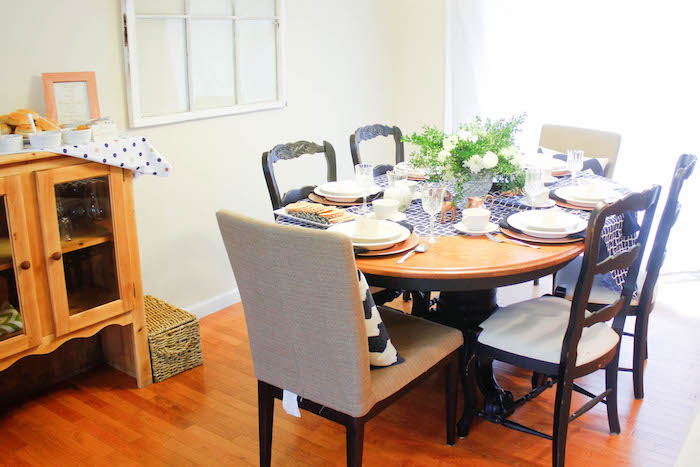 Dining Table from a Rustic Navy + Copper Baby Shower / Tea Party via Kara's Party Ideas | KarasPartyIdeas.com (7)
