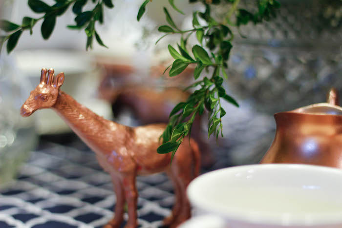 Copper Giraffe from a Rustic Navy + Copper Baby Shower / Tea Party via Kara's Party Ideas | KarasPartyIdeas.com (32)