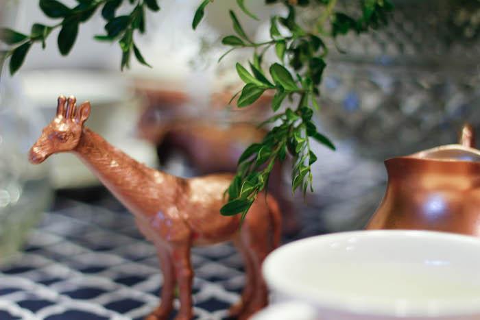 Copper Giraffe from a Rustic Navy + Copper Baby Shower / Tea Party via Kara's Party Ideas | KarasPartyIdeas.com (32)