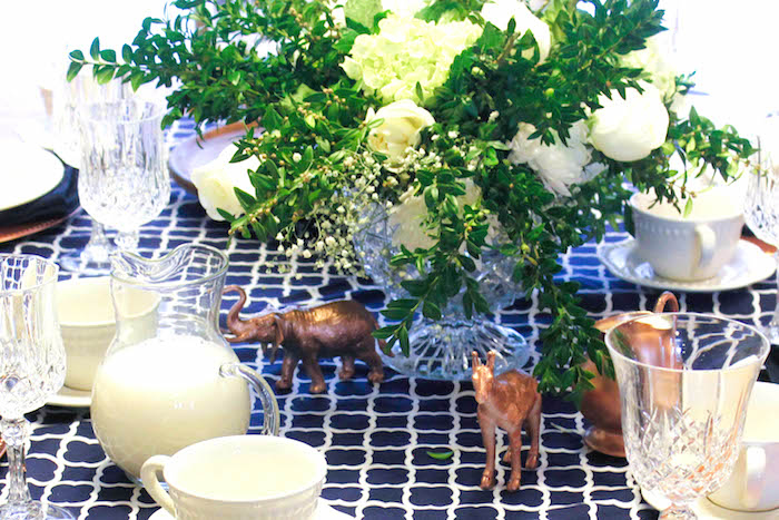 Copper Animals + Decor from a Rustic Navy + Copper Baby Shower / Tea Party via Kara's Party Ideas | KarasPartyIdeas.com (5)