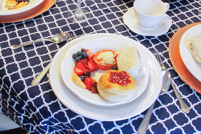 Plate with Food from a Rustic Navy + Copper Baby Shower / Tea Party via Kara's Party Ideas | KarasPartyIdeas.com (3)