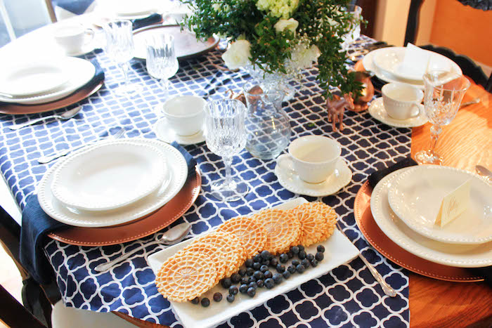 Dining Tablescape from a Rustic Navy + Copper Baby Shower / Tea Party via Kara's Party Ideas | KarasPartyIdeas.com (29)