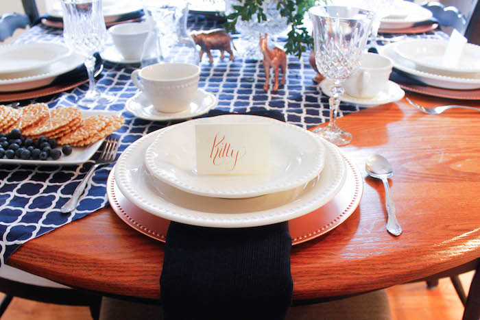 Place Setting from a Rustic Navy + Copper Baby Shower / Tea Party via Kara's Party Ideas | KarasPartyIdeas.com (28)