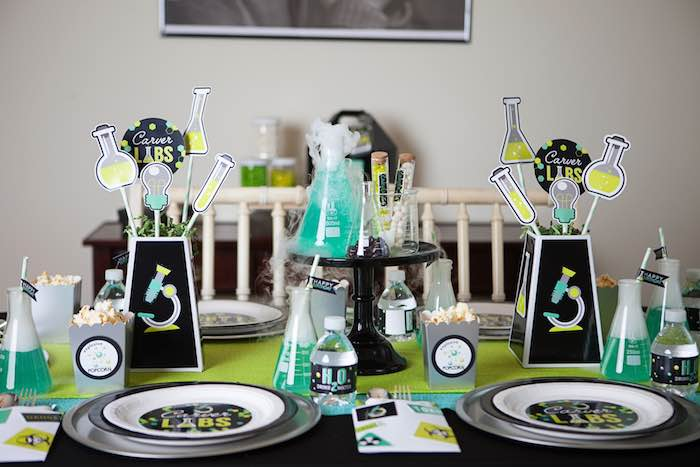 Dining Table from a Science Lab Birthday Party via Kara's Party Ideas KarasPartyIdeas.com (39)