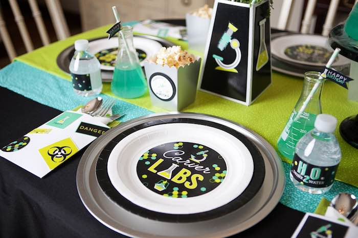 Place Setting from a Science Lab Birthday Party via Kara's Party Ideas KarasPartyIdeas.com (34)