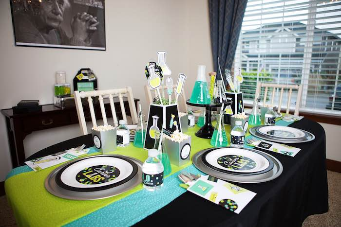 Kids Table from a Science Lab Birthday Party via Kara's Party Ideas KarasPartyIdeas.com (32)