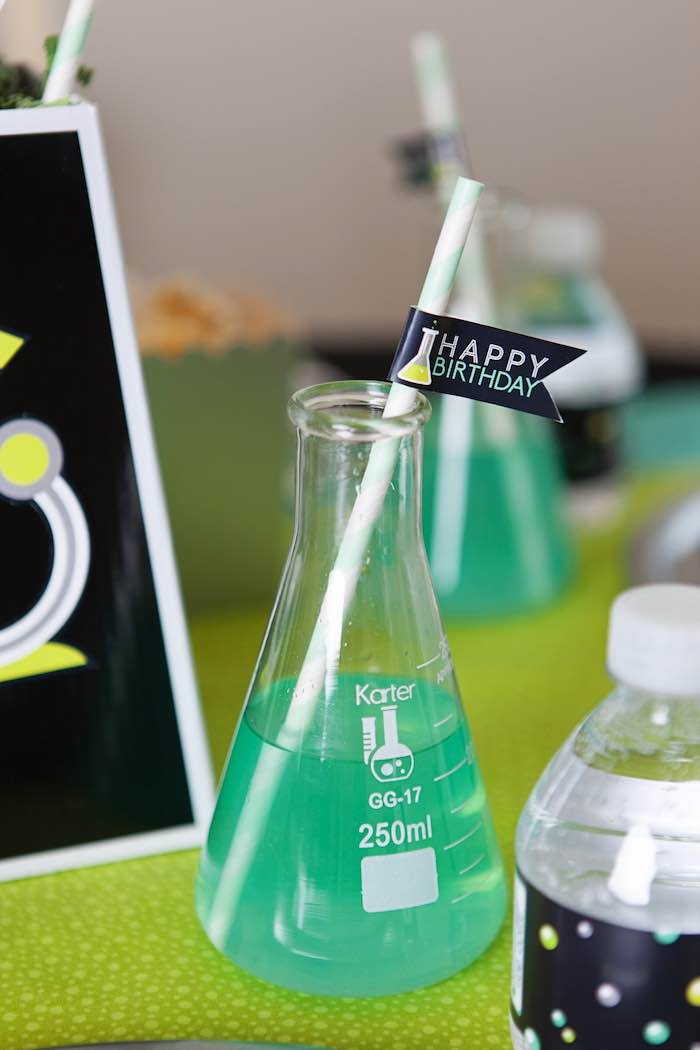 Drink Flask from a Science Lab Birthday Party via Kara's Party Ideas KarasPartyIdeas.com (25)