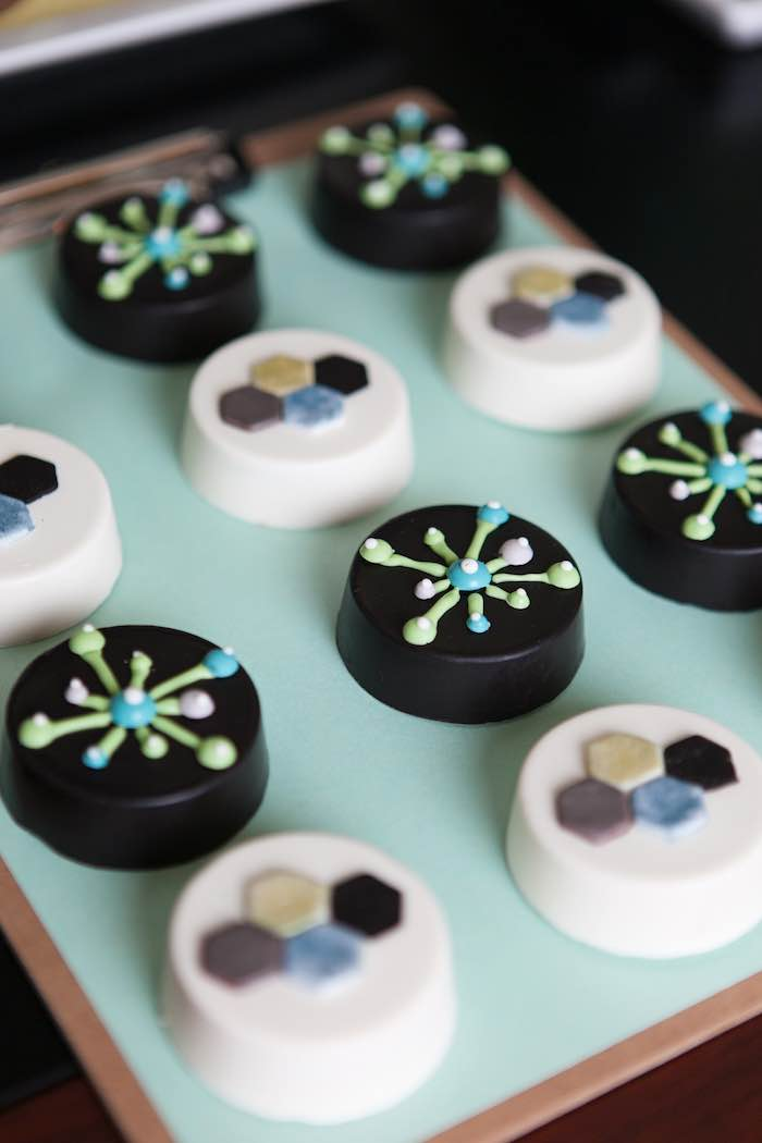 Chocolate covered oreos from a science lab birthday party via kara s