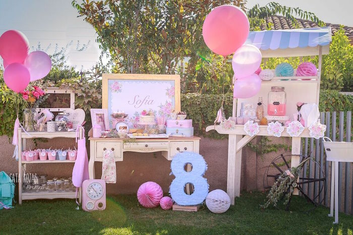 Party Spread + Display from a Shabby Chic Bakery Birthday Party via Kara's Party Ideas |The Place for All Things Party! KarasPartyIdeas.com (20)