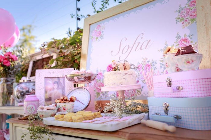 Dessert Table Details from a Shabby Chic Bakery Birthday Party via Kara's Party Ideas |The Place for All Things Party! KarasPartyIdeas.com (19)