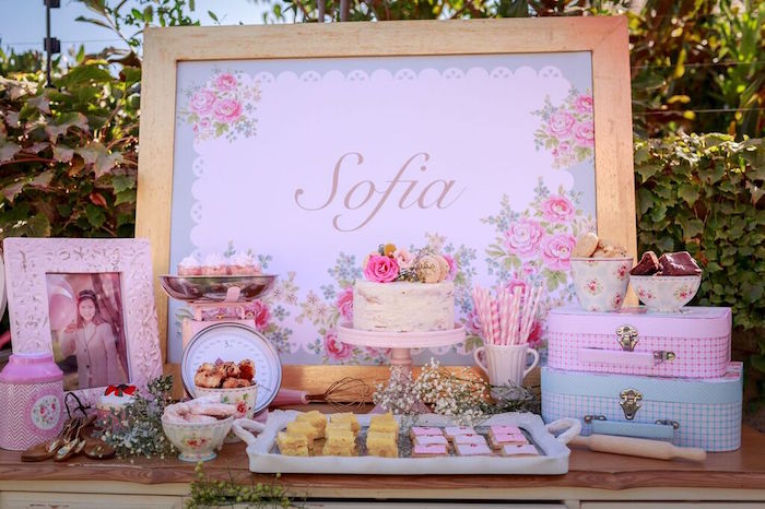 Dessert Table from a Shabby Chic Bakery Birthday Party via Kara's Party Ideas |The Place for All Things Party! KarasPartyIdeas.com (18)