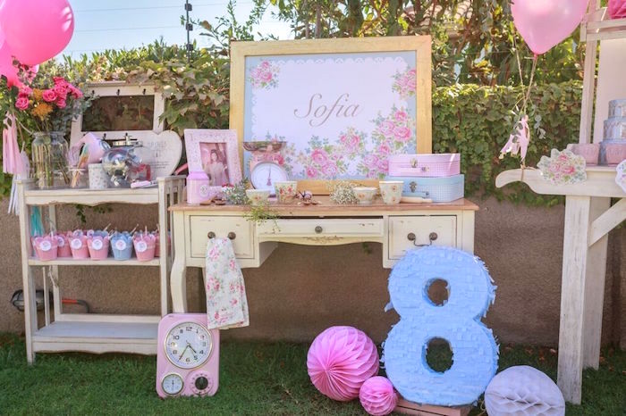 Dessert Table from a Shabby Chic Bakery Birthday Party via Kara's Party Ideas |The Place for All Things Party! KarasPartyIdeas.com (35)