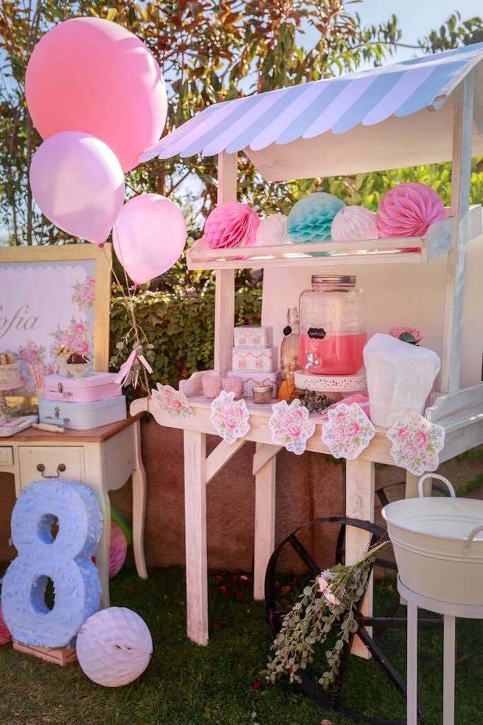 Drink Table + Stand from a Shabby Chic Bakery Birthday Party via Kara's Party Ideas |The Place for All Things Party! KarasPartyIdeas.com (7)