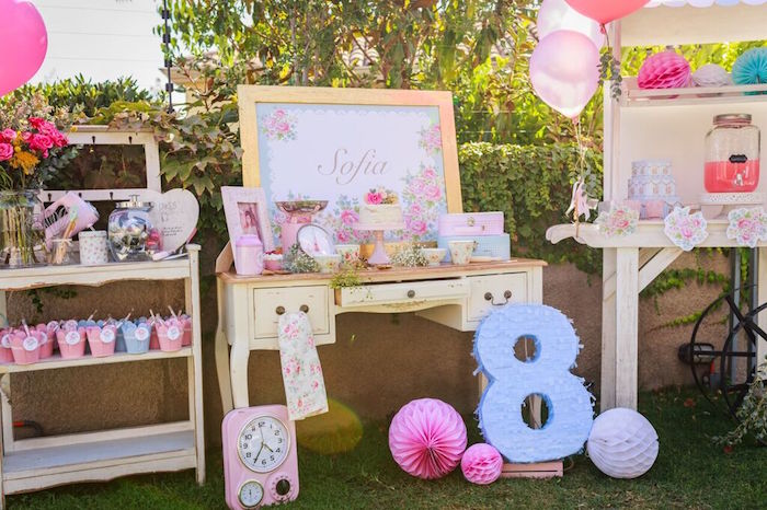 Party Spread from a Shabby Chic Bakery Birthday Party via Kara's Party Ideas |The Place for All Things Party! KarasPartyIdeas.com (34)