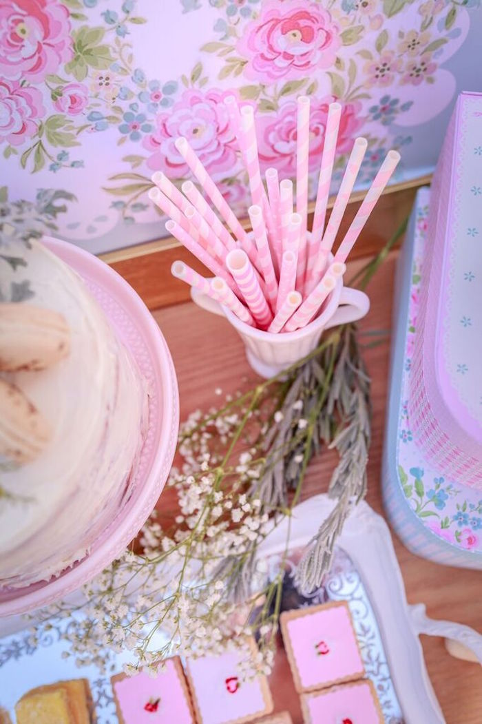 Paper Drink Straws from a Shabby Chic Bakery Birthday Party via Kara's Party Ideas |The Place for All Things Party! KarasPartyIdeas.com (5)