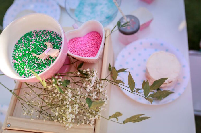 Sprinkles + Toppings at a Cupcake Decorating Station from a Shabby Chic Bakery Birthday Party via Kara's Party Ideas |The Place for All Things Party! KarasPartyIdeas.com (4)