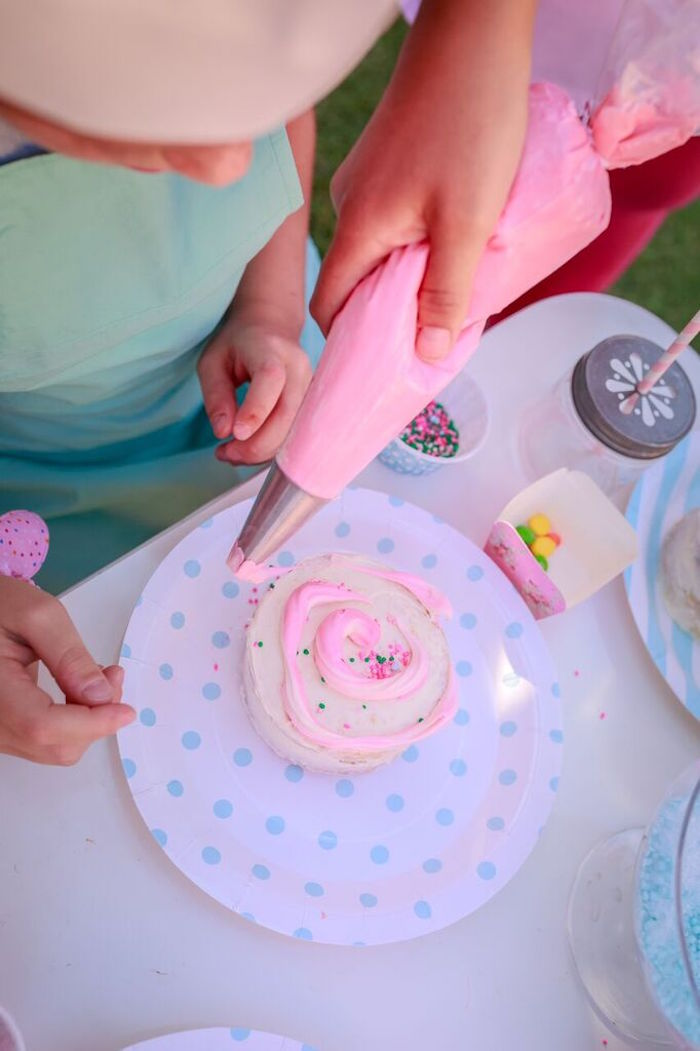 Cupcake Decorating from a Shabby Chic Bakery Birthday Party via Kara's Party Ideas |The Place for All Things Party! KarasPartyIdeas.com (3)