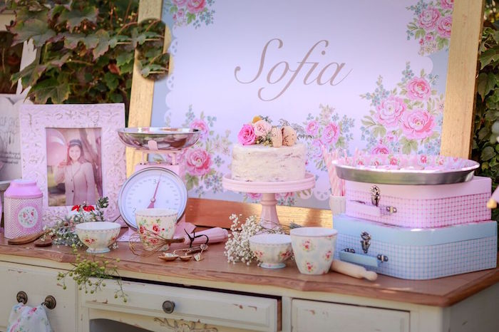 Sweet Table Details from a Shabby Chic Bakery Birthday Party via Kara's Party Ideas |The Place for All Things Party! KarasPartyIdeas.com (27)