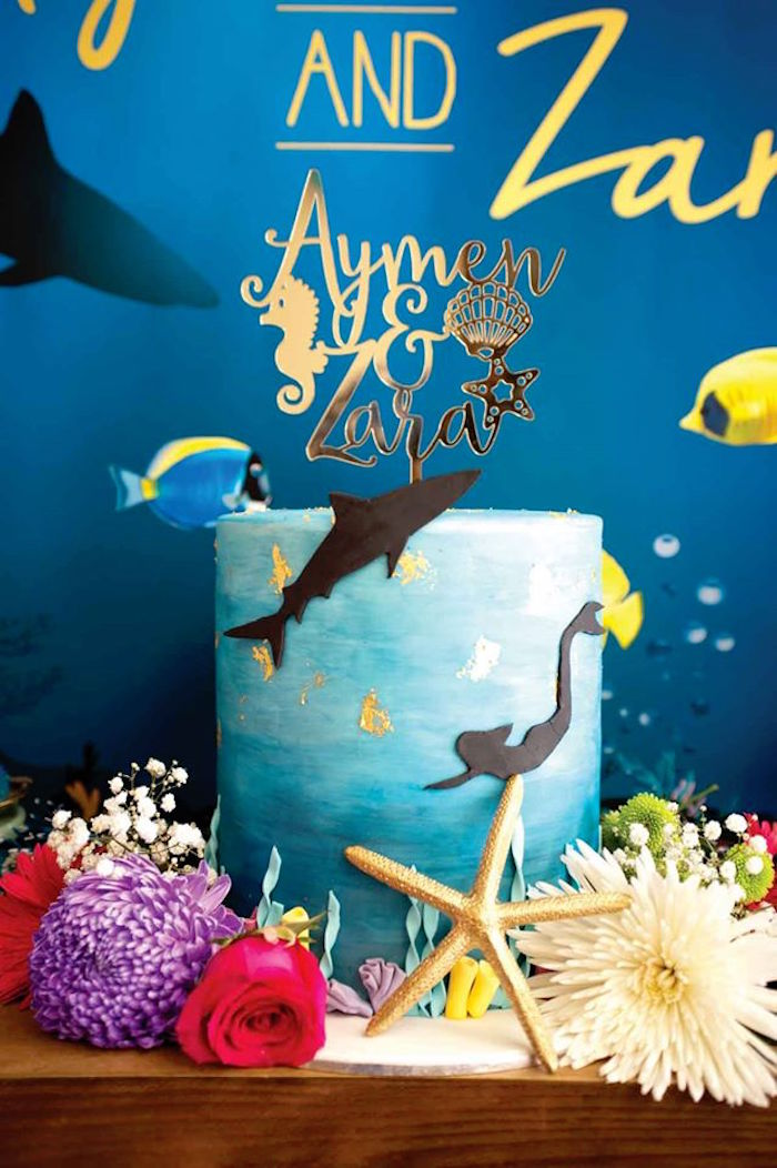 "Cake from a Shark & Mermaid ""Under the Sea"" Joint Birthday Party via Kara's Party Ideas! KarasPartyIdeas.com (30)"